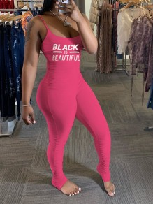 """Pink """"Black Beautiful"""" Print Spaghetti Strap Casual Sports Bodycon High Waisted Long Jumpsuit"""