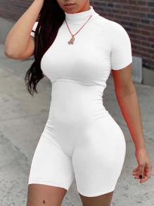 White Patchwork Bodysuit High Neck Short Sleeve Fashion Yoga Workout Sports Jogger Jumpsuits