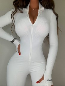 White Patchwork Zipper Bodysuit Turndown Collar Long Sleeve Fashion Jumpsuits