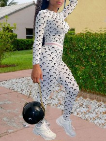 White Moon Print Two Piece Pleated Casual Sports Scrunch High Waisted Long Jumpsuit
