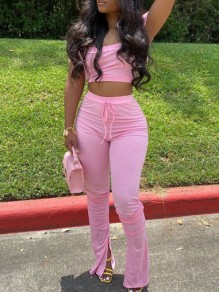 Pink Off Shoulder Drawstring Pleated Two Piece Stacked Scrunch High Waisted Casual Sports Long Jumpsuit