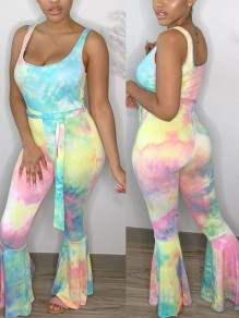 Light Blue Tie Dyeing Belt Spaghetti Strap Bodycon Bohemian Beach Party Bell Bottomed Flares Long Jumpsuit