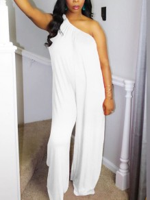 White Asymmetric Shoulder Pleated Bohemian Boho Beach Wide Leg Palazzo Long Jumpsuit