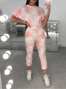 Pink Tie Dyeing Drawstring Two Piece Casual Sports Long Jumpsuit