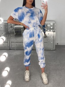 Blue Tie Dyeing Drawstring Two Piece Casual Sports Long Jumpsuit