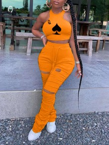 Orange Playing Cards Print Halter Neck Cut Out Distressed Ripped Pleated Drawstring Two Piece Casual Sports Stacked Scrunch Long Jumpsuit