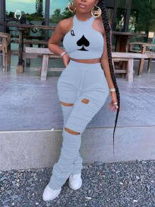 Grey Playing Cards Print Halter Neck Cut Out Distressed Ripped Pleated Drawstring Two Piece Casual Sports Stacked Scrunch Long Jumpsuit