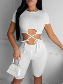 White Two Piece Cut Out Round Neck Short Sleeve Fashion Short Jumpsuit
