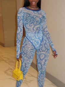 Blue And White Porcelain Print Grenadine Sheer Bodycon Two Piece Party Long Jumpsuit