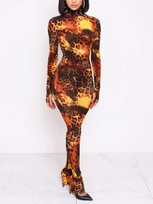 Brown Leopard Print Bodycon Long Sleeve Party Long Jumpsuit