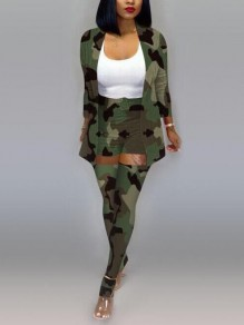 Army Green Camouflage Print Turndown Collar High Waisted Three Piece Long Jumpsuit