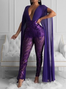 Purple Patchwork Sequin Grenadine V-neck Bodycon Sparkly Glitter Birthday Party Long Jumpsuit