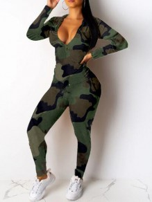 Army Green Camouflage Pockets Zipper Deep V-neck Two Piece Hooded Long Jumpsuit