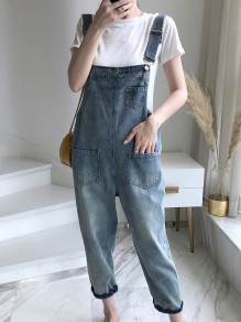 Blue Pockets High Waisted Loose Overall Pants Denim Dungarees Jumpsuit