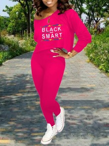 "Rose Carmine Monogram ""BLACK AND SMART"" Print Off One Shoulder Long Sleeve Two Piece High Waisted Casual Long Jumpsuit"