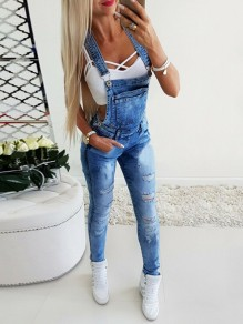 Blue Pockets Buttons Cut Out Jeans Overall Pants Overall Denim Long Jumpsuit