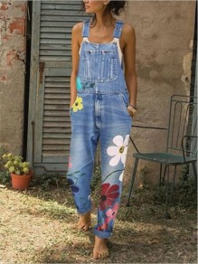 Light Blue Flowers Print Buttons Pockets Fashion Jeans Overall Pants Long Jumpsuit