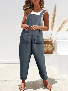 Grey Pockets Mid-rise Fashion Overall Pants Long Jumpsuit
