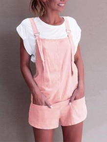 Pink Pockets High Waisted Fashion Short Jumpsuit Overall Pants