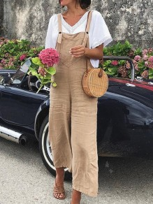 Khaki Pockets Buttons High Waisted Long Jumpsuit Overall Pants