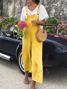 Yellow Pockets Buttons High Waisted Long Jumpsuit Overall Pants