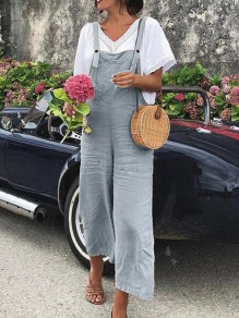 Grey Pockets Buttons High Waisted Long Jumpsuit Overall Pants