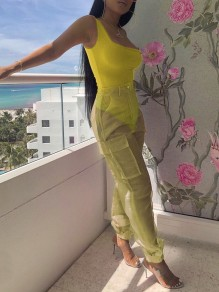 Neon Yellow Shoulder-Strap U-neck One-Piece 2-in-1 Grenadine Sheer Pockets High Waisted Organza Long Cargo Jumpsuit