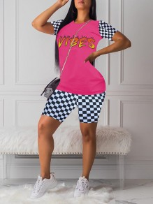 """Pink Flame Letter """"VIBES"""" Print Round Neck Plaid Short Sleeve Two Piece Plaid Short Casual Jumpsuit"""