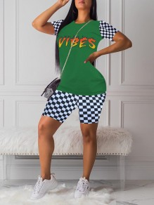 """Green Flame Letter """"VIBES"""" Print Round Neck Plaid Short Sleeve Two Piece Plaid Short Casual Jumpsuit"""