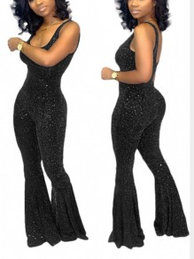 Black Bright Wire Shoulder-Strap U-neck Flare Bell Bottom Glitter Sparkly Birthday Party Long Jumpsuit