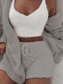 Grey Belt Lace-up Long Sleeve Two Piece Fluffy Pajamas Sleepwear Cute Short Jumpsuit