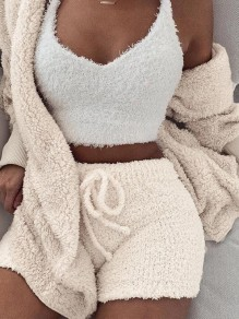 Rice White Belt Lace-up Long Sleeve Two Piece Fluffy Pajamas Sleepwear Cute Short Jumpsuit