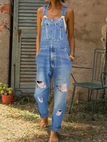 Light Blue Pocket Spaghetti Strap Ripped Destroyed Oversize Long Denim Jumpsuit
