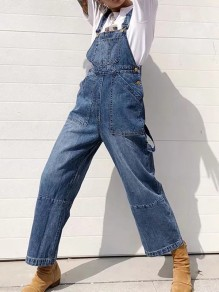 Combinaison poche spaghetti sangle oversize vintage long denim bleu