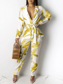 Yellow Boohoo Palm Leaves Print Belt Tailored Collar V-neck Long Sleeve Two Piece Work Long Jumpsuit