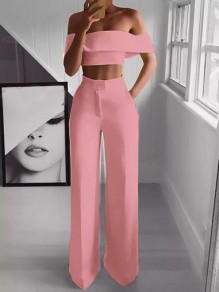 Pink Pockets Off Shoulder Short Sleeve Two Piece High Waisted Wide Leg Palazzo Pants Work Long Jumpsuit