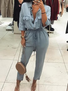 Light Blue Pockets Buttons Turndown Collar V-neck Three Quarter Length Sleeve Casual Long Jumpsuit