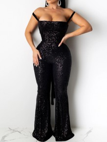 Black Patchwork Sequin Off Shoulder Bodycon Sparkly Glitter Birthday Party Bell Bottomed Flares Long Jumpsuit