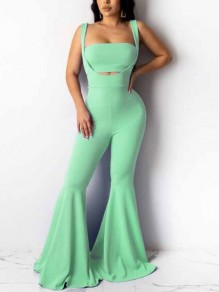 Green Draped Bandeau Two Piece Flare Bell Bottom Overall Long Jumpsuit