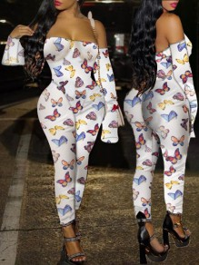White Coloful Butterfly Print Off Shoulder Flare Long Sleeve Bodysuit Long Jumpsuit