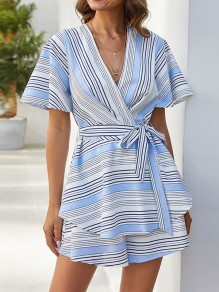 Blue White Striped Print Cut Out Sashes Backless Fashion Short Jumpsuit