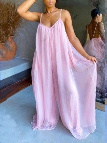 Rose patchwork grenadine plissé spaghetti strap backless bohemian beachwear party taille haute jambe large palazzo long jumpsuit
