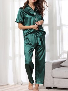 Green Satin Pockets Single Breasted Sashes 2-in-1 Long Pajama Sets Sleepwear Jumpsuit