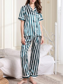 Green White Striped Satin Pockets Single Breasted Sashes 2-in-1 Long Pajama Sets Sleepwear Jumpsuit