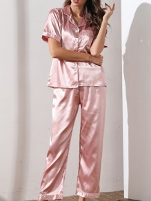 Pink Pockets Single Breasted Sashes Two Piece Fashion Long Jumpsuit