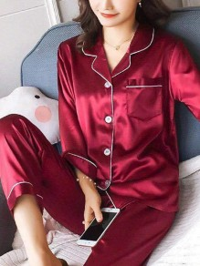 Red Buttons Pockets Sleepwear Turndown Collar Long Sleeve High Waisted Long Satin Pajamas Set