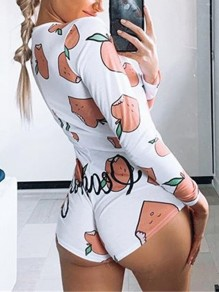 White Floral Buttons Apple Print Bodycon V-neck Long Sleeve Shorts Pajamas Jumpsuit Sleepwear