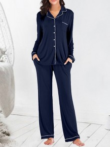 Navy Blue Single Breasted Pockets 2-in-1 Fashion Long Pajama Sets Sleepwear Jumpsuit