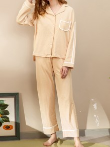 Orange Single Breasted Turndown Collar Long Sleeve Cute Jumpsuit Sleepsuit Pajamas