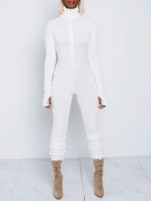 White Lucky Label Zipper Band Collar Long Sleeve Bodysuit Sports Long Jumpsuit With Gloves